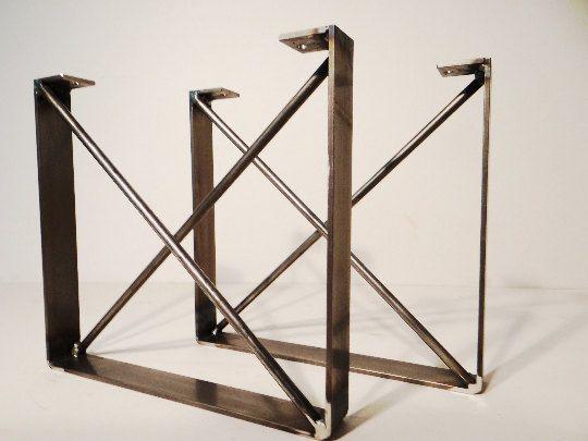 Set of 2, metal dining table legs, u shaped industrial steel ...