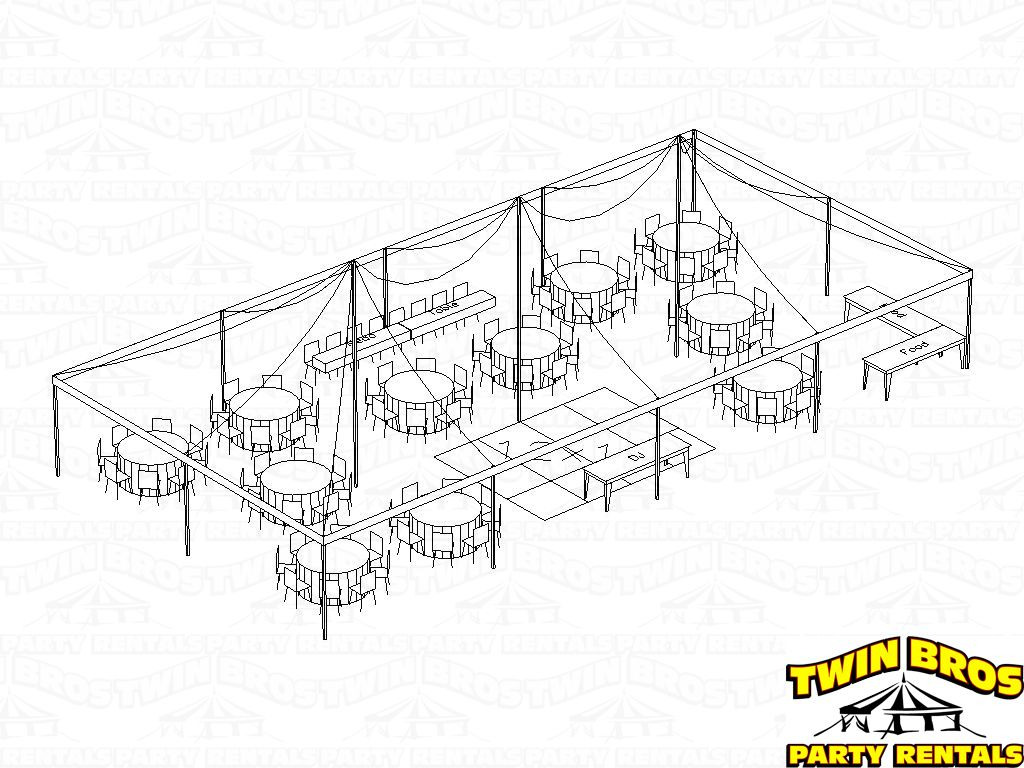 30x60 tent with banquet tables layout 1 seating for 96 people with 60 inch round tables food  [ 1024 x 768 Pixel ]