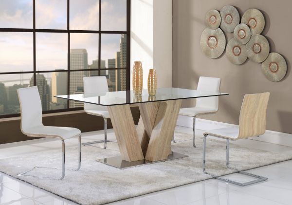 Contemporary White Mdf Rectangular Glass Top Dining Table