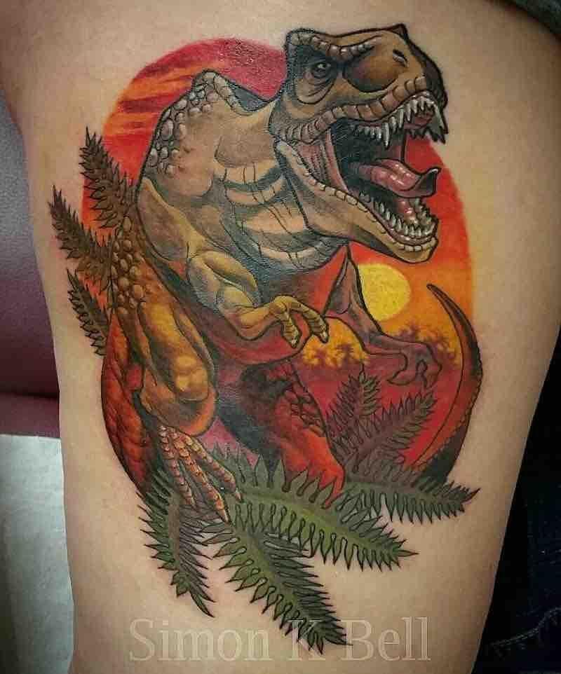 22 Outstanding Dinosaur Tattoos #dinosaurtattoos Dinosaur Tattoo by Simon K Bell #dinosaurtattoos