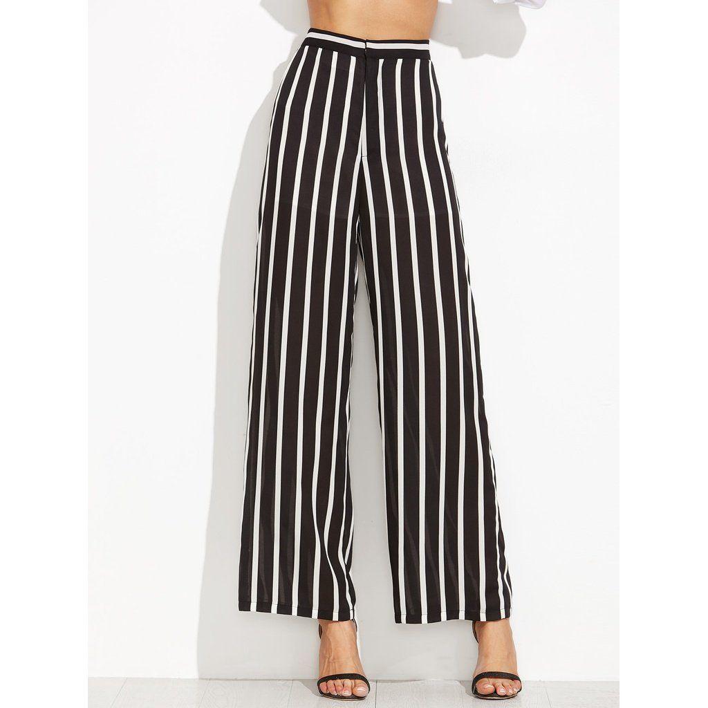 d3c1b6bc659ff Vertical Black   White Striped Wide Leg Pants