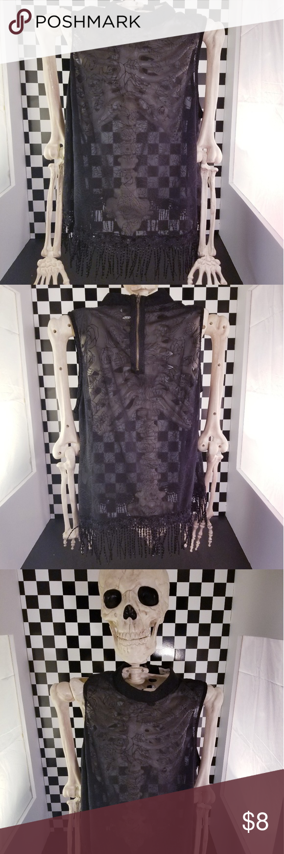 Sheer Flapper Top Swirly black flower designs on a sheer light top with flapper fringe accents! Ghost the graveyard properly with the right spooky outfit! ☠☠☠  In good condition. Minor wear. No holes or stains  Sheer Flapper Top Swirly black flower designs on a sheer light top with flapper fringe accents! Ghost the graveyard properly with the right spooky outfit! ☠☠☠  In good condition. Minor wear. No holes or stains #spookyoutfits