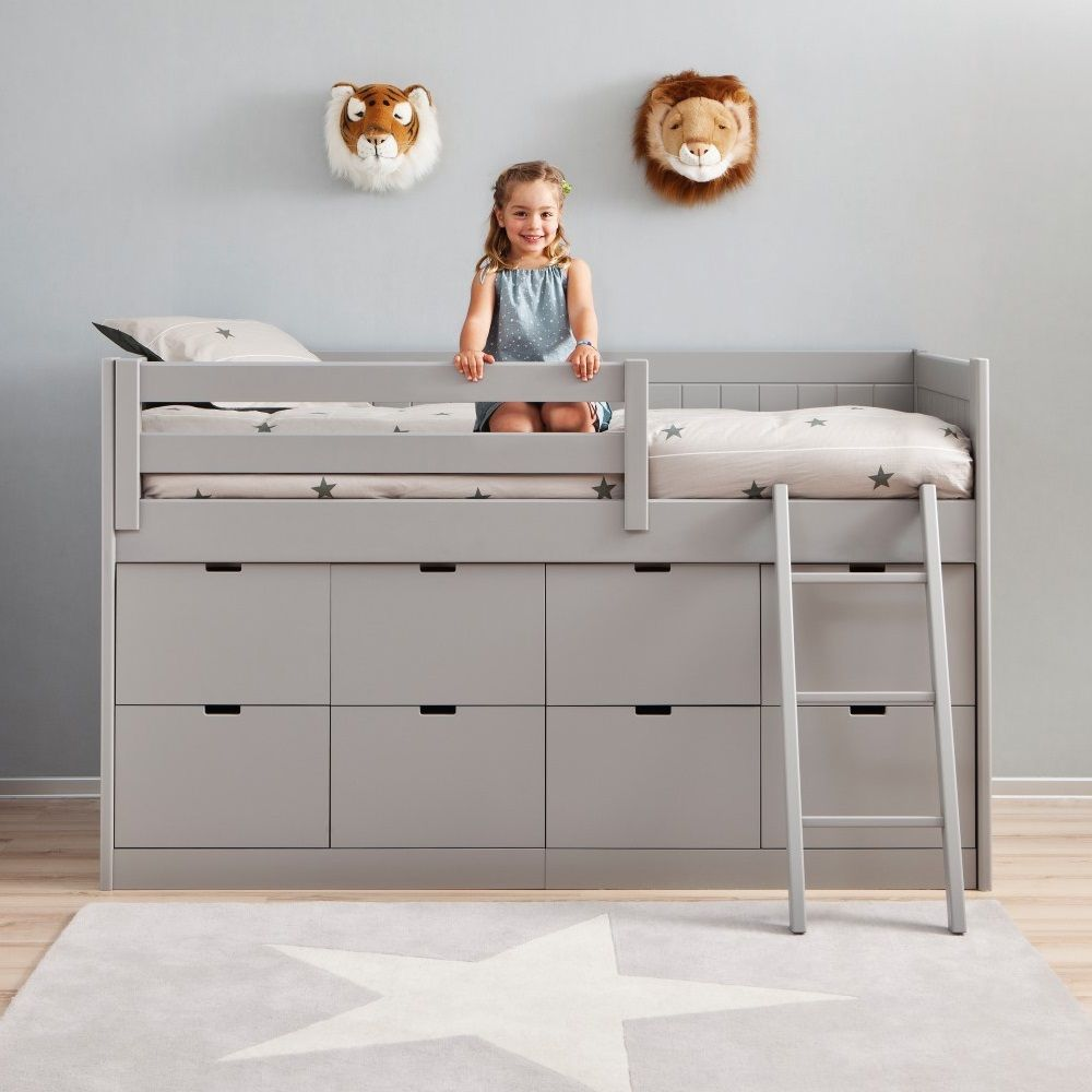 kids cabin bed with 8 drawers ladder