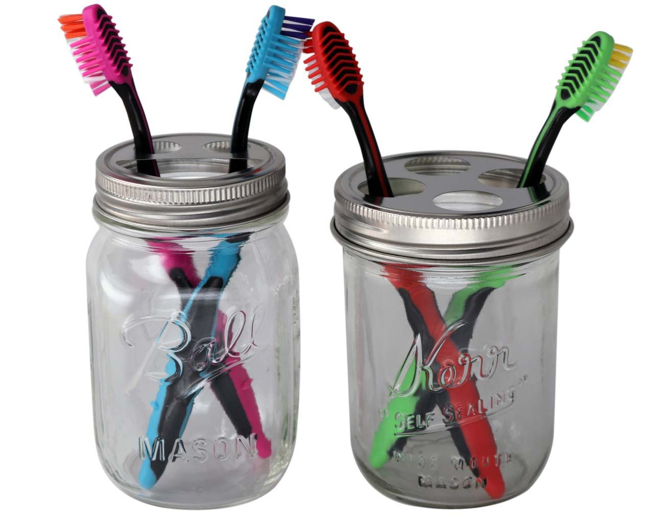 Stainless Steel Toothbrush Holder For Mason Jars Soap Pump
