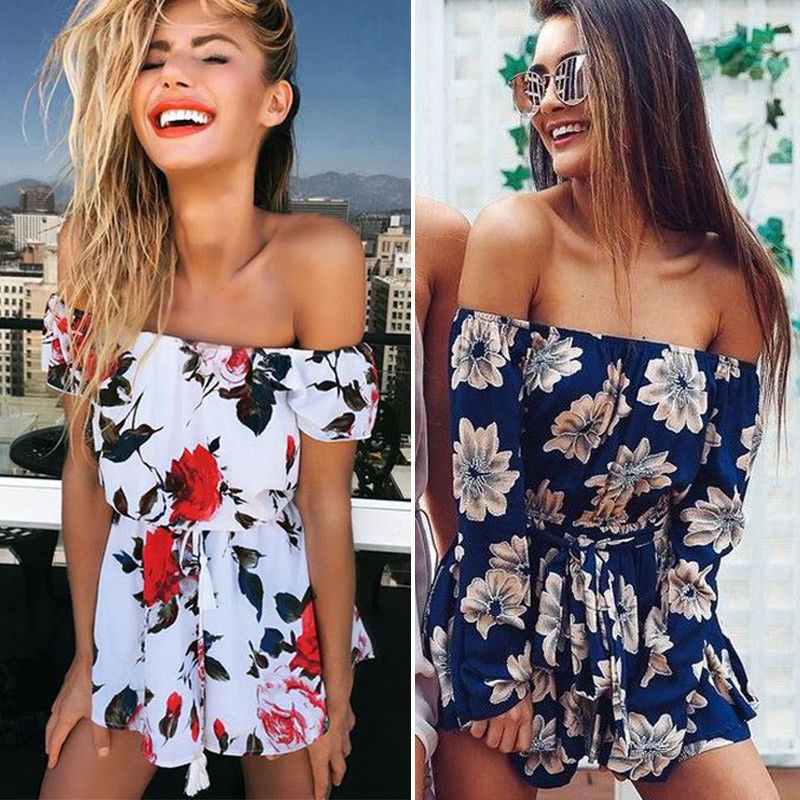 7181035cfb9f 4.99AUD - Womens Ladies Summer Jumpsuit Beach Holiday Floral Mini Playsuit  Shorts Dresses  ebay  Fashion