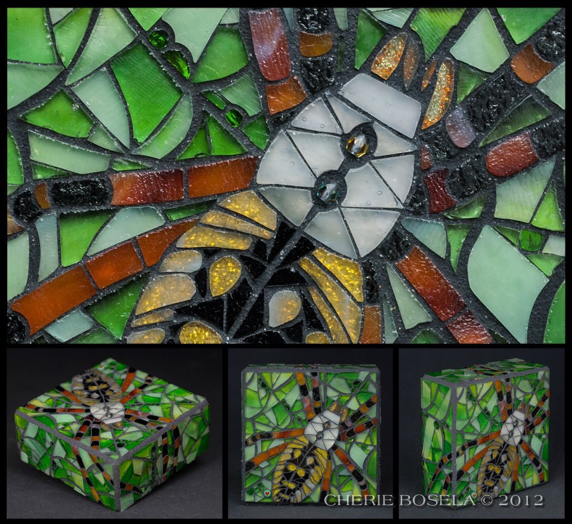 "Lili - Spider #mosaic    --------     Medium: stained glass, beads, glitter and original photography    --------     Size: 4"" x 4"" x 1.75""     --------     By Cherie Bosela"