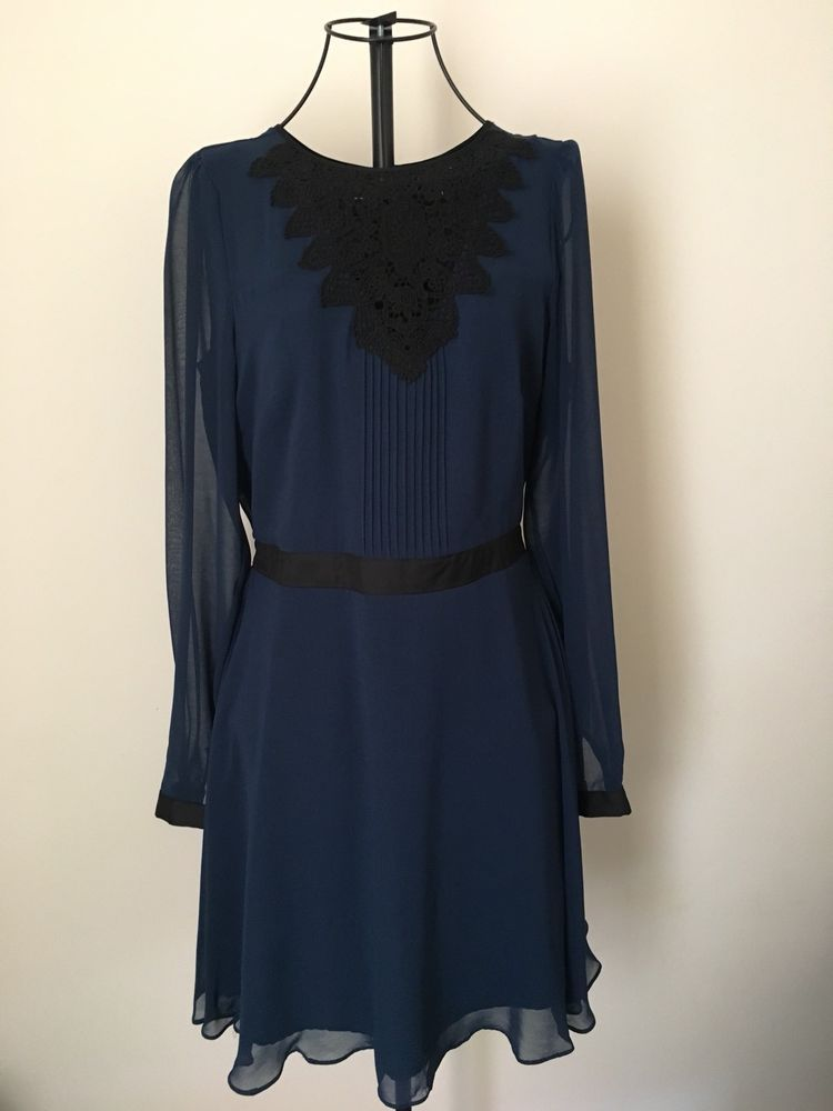b2434a625ae9 WAREHOUSE NAVY BLUE BLACK CROCHET LACE BUTTONED SKATER LONG SLEEVE DRESS UK  12  fashion  clothing  shoes  accessories  womensclothing  dresses (ebay  link)