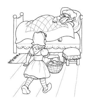 Little Red Riding Hood A Little Kid Coloring Page For Kids  Kids