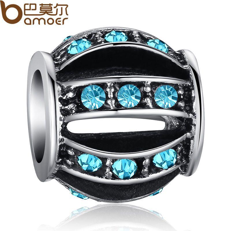 Blue Crystal Hollow Lantern Charms Fit 925 European Bracelet/Necklace Chain #Bamoer #European