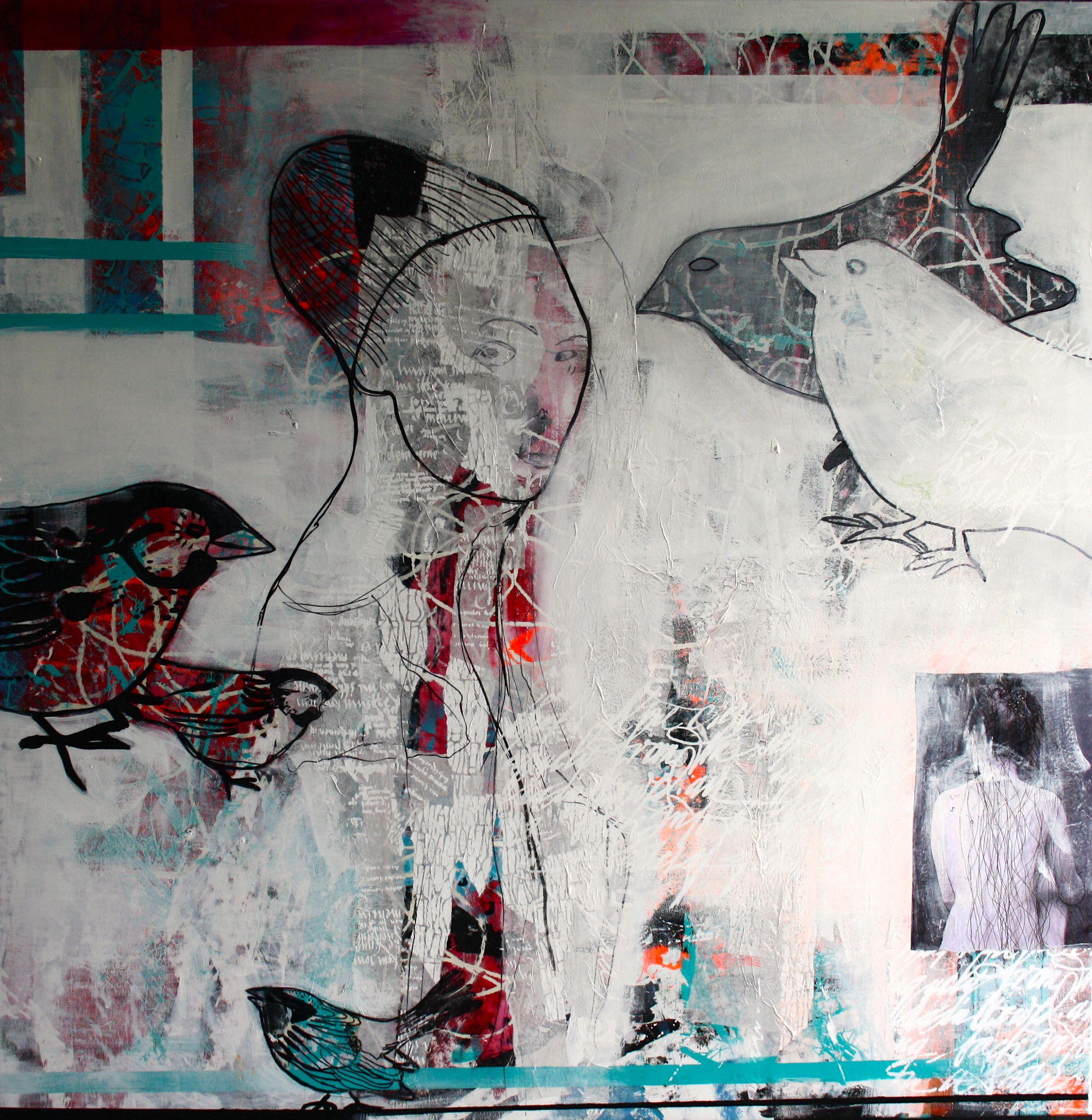 Mennesker Maleri Collage Abstrakt Art Udstillinger Kursus Akrylmaleri Rie Brodsgard Kolding Galleri Artister Maleri Kunstgalleri