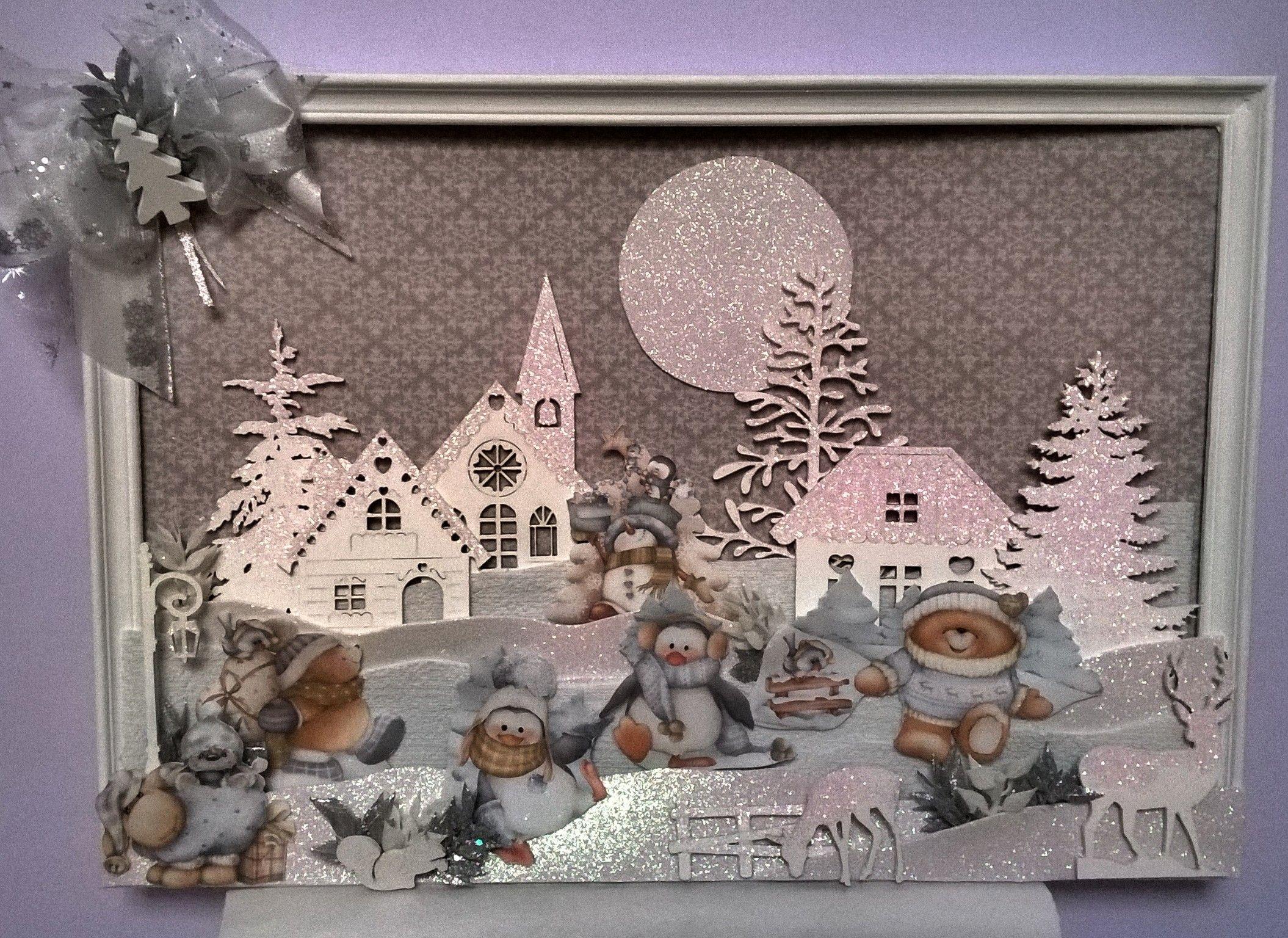 spesso Quadro natalizio realizzato con gomma crepla, mosgummy, casette in  DK17