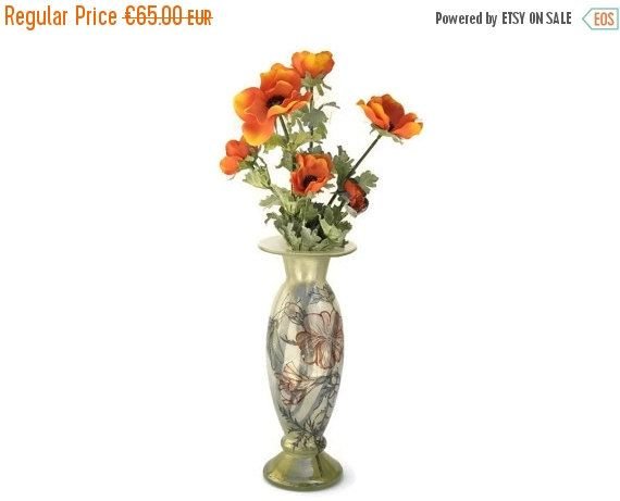 Art Nouveau Inspired California Poppy By Mason Larose: French Art Nouveau Style Vase, Hand Painted Blown Glass