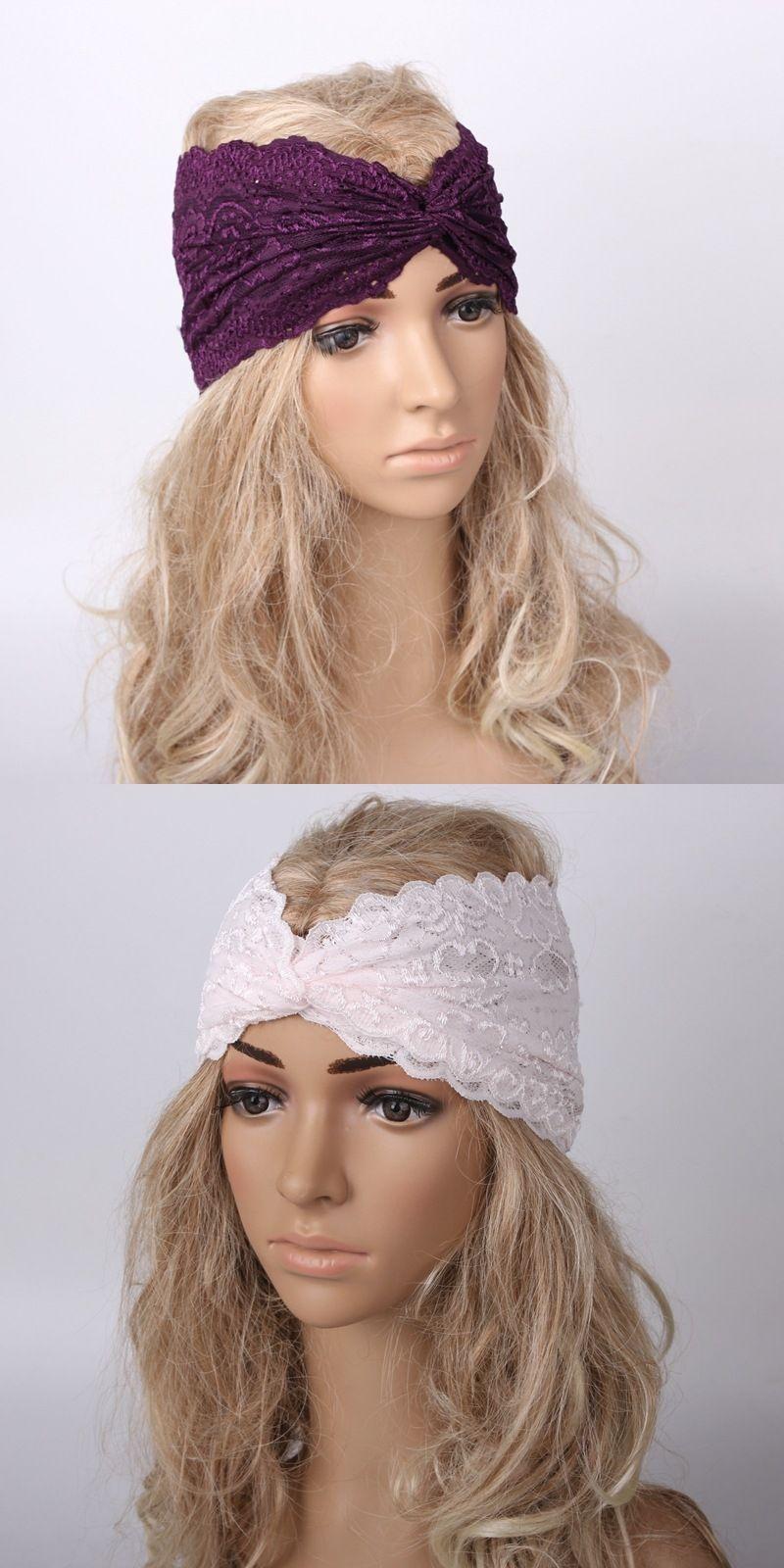 2017 Wholesale 8 Colors Elastic Lace Headbands, Twist Turban ...