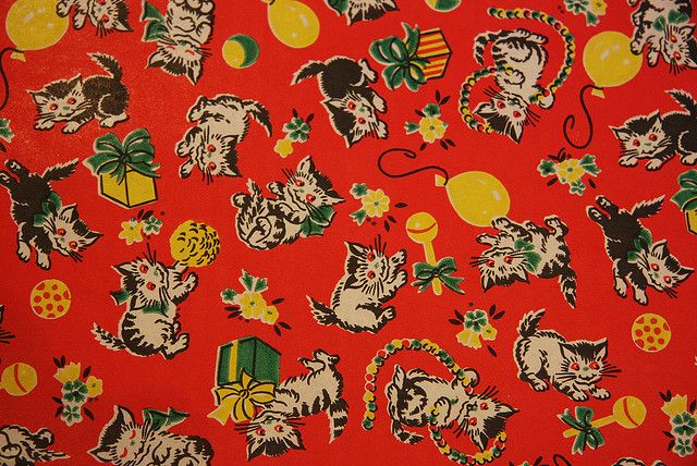 Christmas Kitten vintage wrapping paper