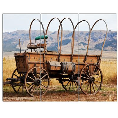 Designart Old American Cart In Grassland 3 Piece Photographic