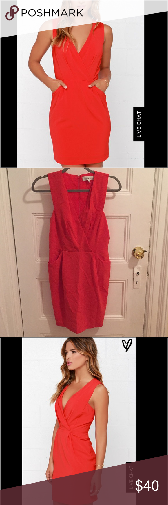 Business and pleasure coral red dress