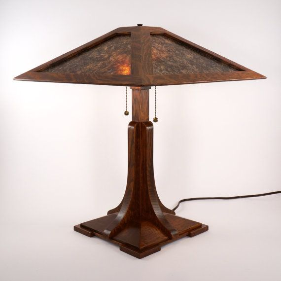 Syracuse I Lamp A Craftsman Mica Lamp In The Limbert And Etsy Lamp Table Lamp Wood Unusual Lamps