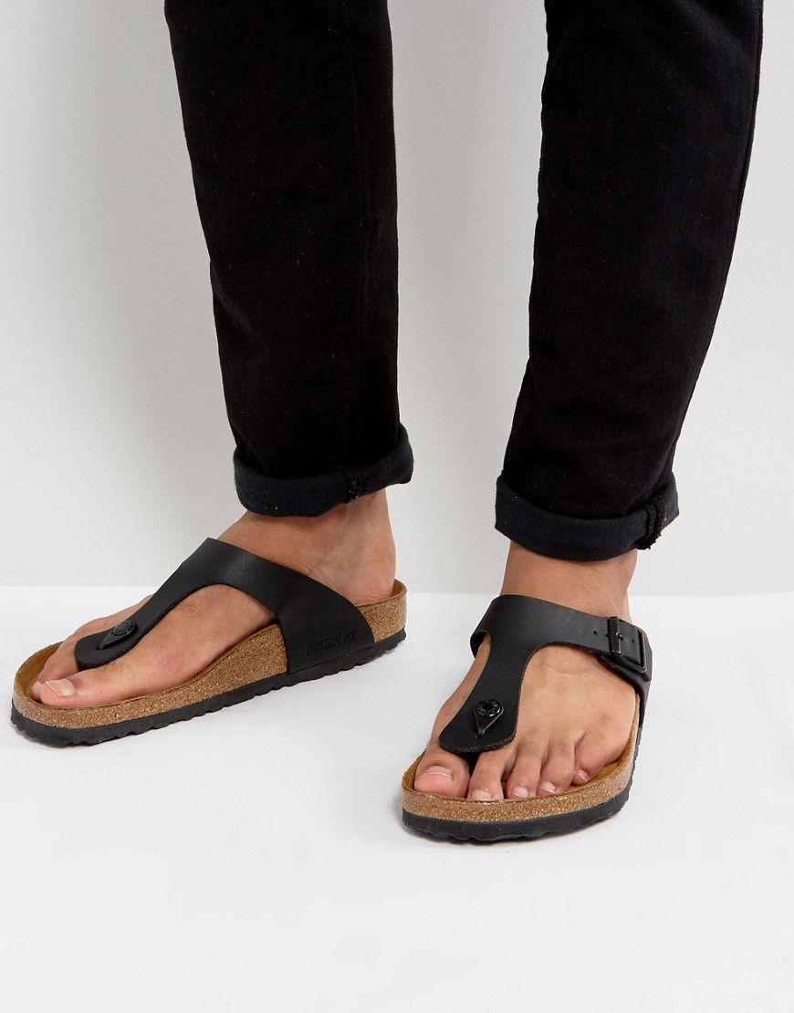 BIRKENSTOCK GIZEH SANDALS IN BLACK - BLACK.  birkenstock  shoes ... 6470584be09