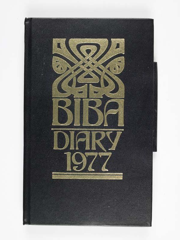 * Diary The front cover features the distinctive black and gold Biba logo created by John McConnell, who designed the famous Biba graphics from 1965-1972. The sinuous, curved decoration picks up on the Art Nouveau revival of the 1960s. For this logo McConnell used a period typeface called Arnold Bocklin, which has a Celtic feel. The logo was applied to all kinds of Biba products, marketing and packaging.