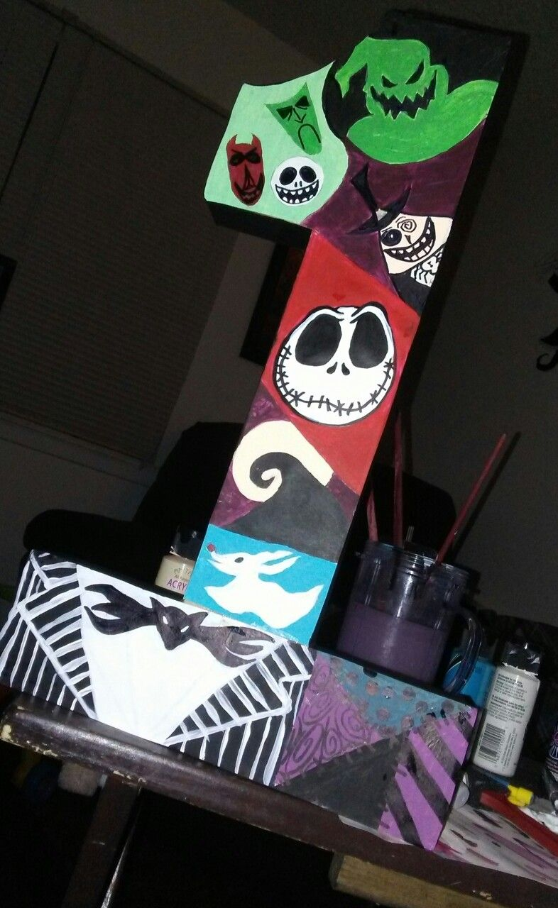 Painted a The Nightmare Before Christmas themed number one for my ...