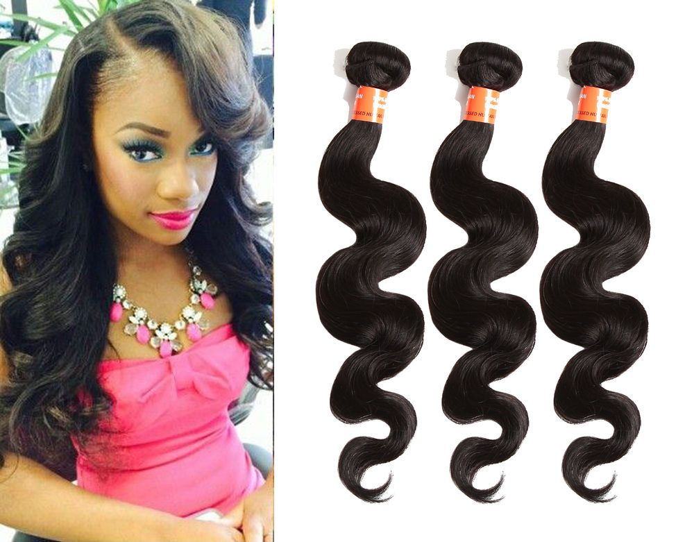 "Best Brazilian Human Hair Extension Body Wave 3Bundles Unprocessed Hair 10""-30"" #wigiss #HairExtension"