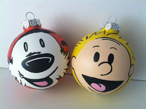 Calvin and Hobbes hand painted Christmas ornaments (via gingerpots on etsy)  Painted Christmas Ornaments - Pin By Kate Jacobs On A Nerd's Wish List Pinterest Calvin And