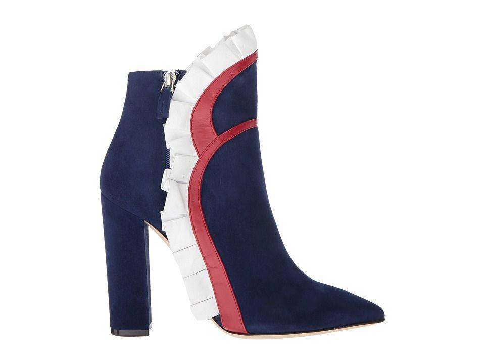 Racine Carrée Vivian Flare Ruffle Ankle Boot w/ Printed Rose j9PNu8F