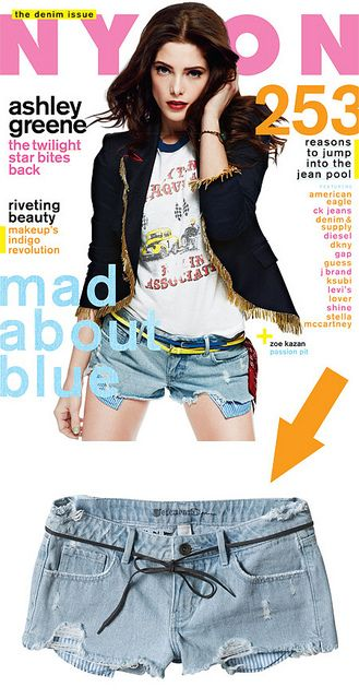 The Element shorts on our August 2012 Ashley Greene cover, $49.50 here.