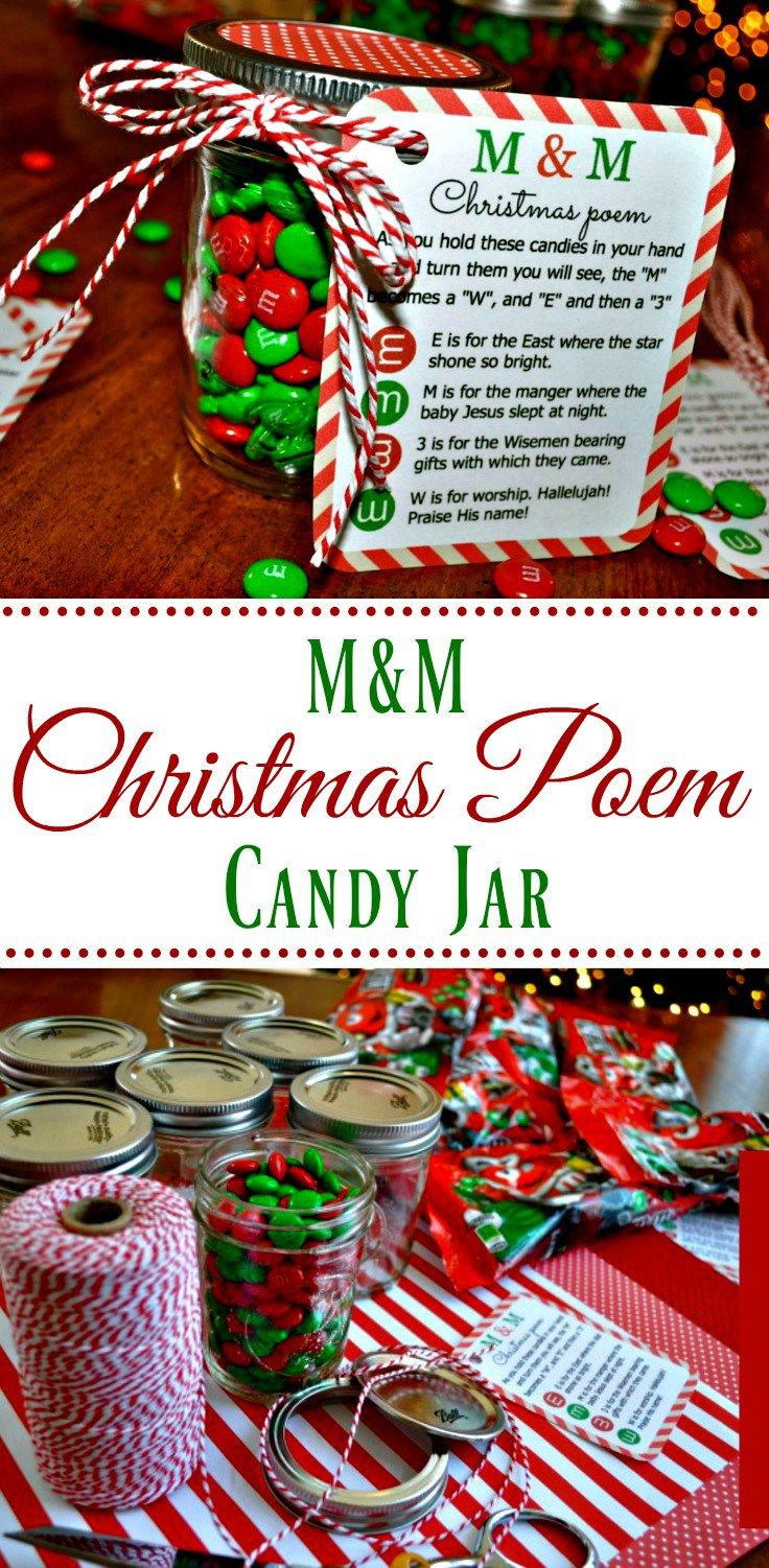 M M Christmas Poem Candy Jar Tutorial Simple Sojourns Christmas Candy Jars Christmas Poems Christmas Candy Gifts