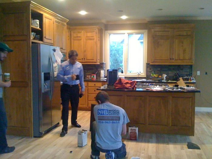 During: Kansas City Kitchen Remodel   Refinishing The Wood Floors