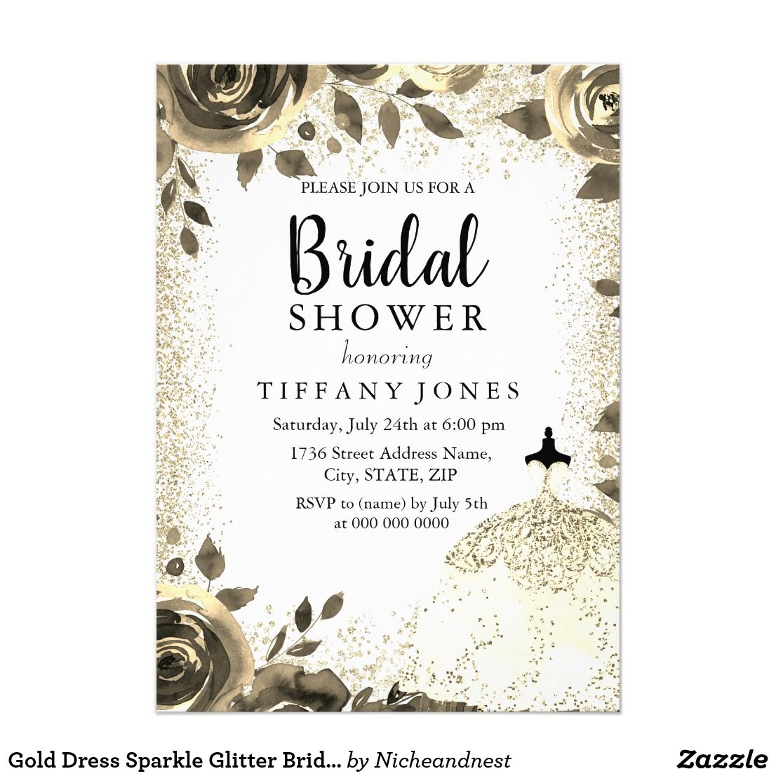 Gold Dress Sparkle Glitter Bridal Shower Invite | Bridal showers ...