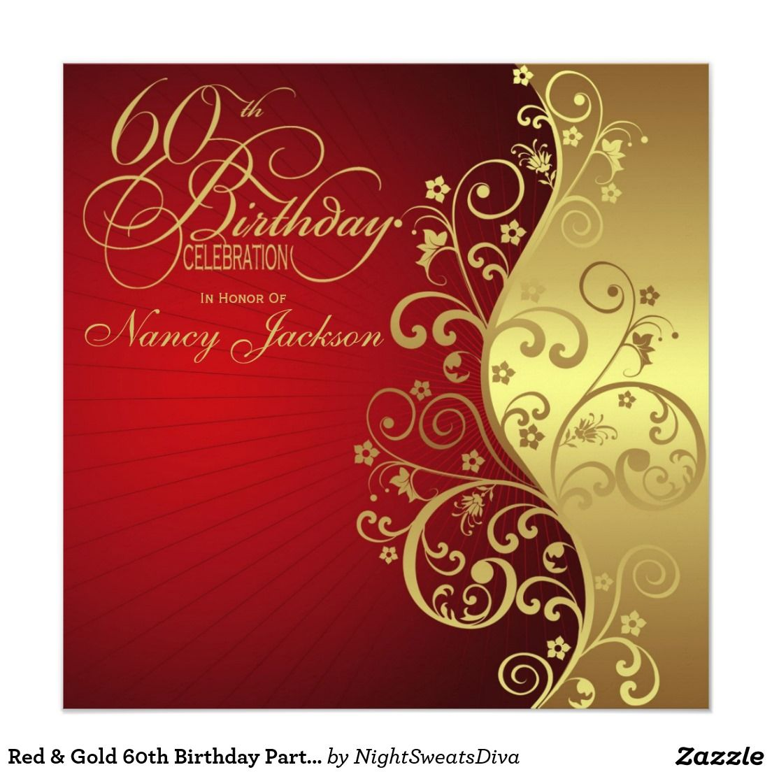 Red & Gold 60th Birthday Party Invitation | Invitations ...