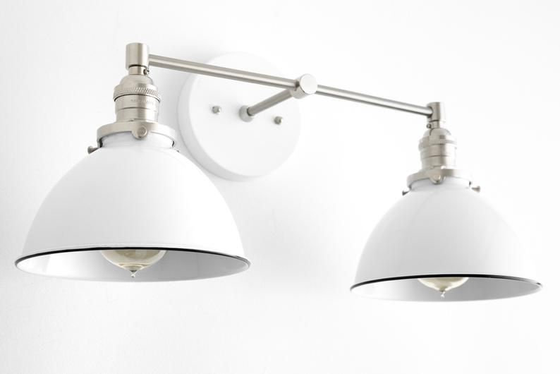 Photo of White Vanity Light – Nickel Lamp – Farmhouse Vanity – Bathroom Lighting – Brushed Nickel Light – Wall Lamp – Model No. 9091