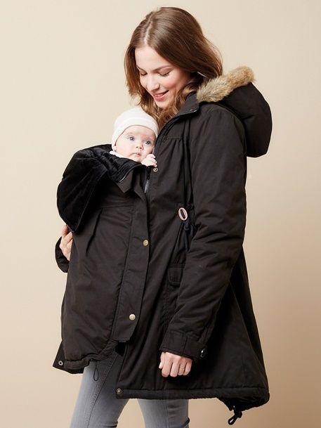 1ba0d4db49cce Parka évolutive 3 en 1 grossesse et allaitement - Noir+Taupe - 3. 3-in-1  Progressive, Adaptable Maternity ...