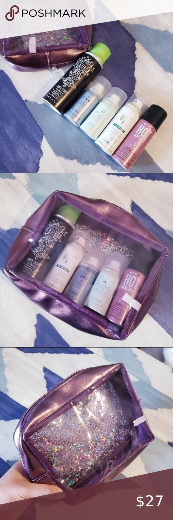 Dry Shampoo Bundle And Clear Glitter Bag Includes 5 New Products And A Really Cool Purple See Through Glitter Bag Glitter Bag Dry Shampoo Klorane Dry Shampoo