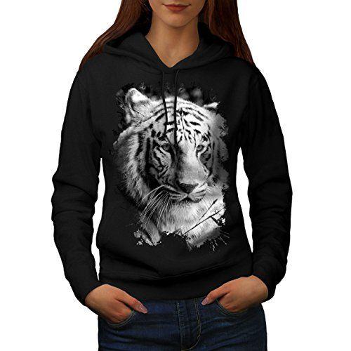 blanc tigre Tête Sauvage Chat Regardez Femme Sweat à capuche   Wellcoda 1ae93f5a37c