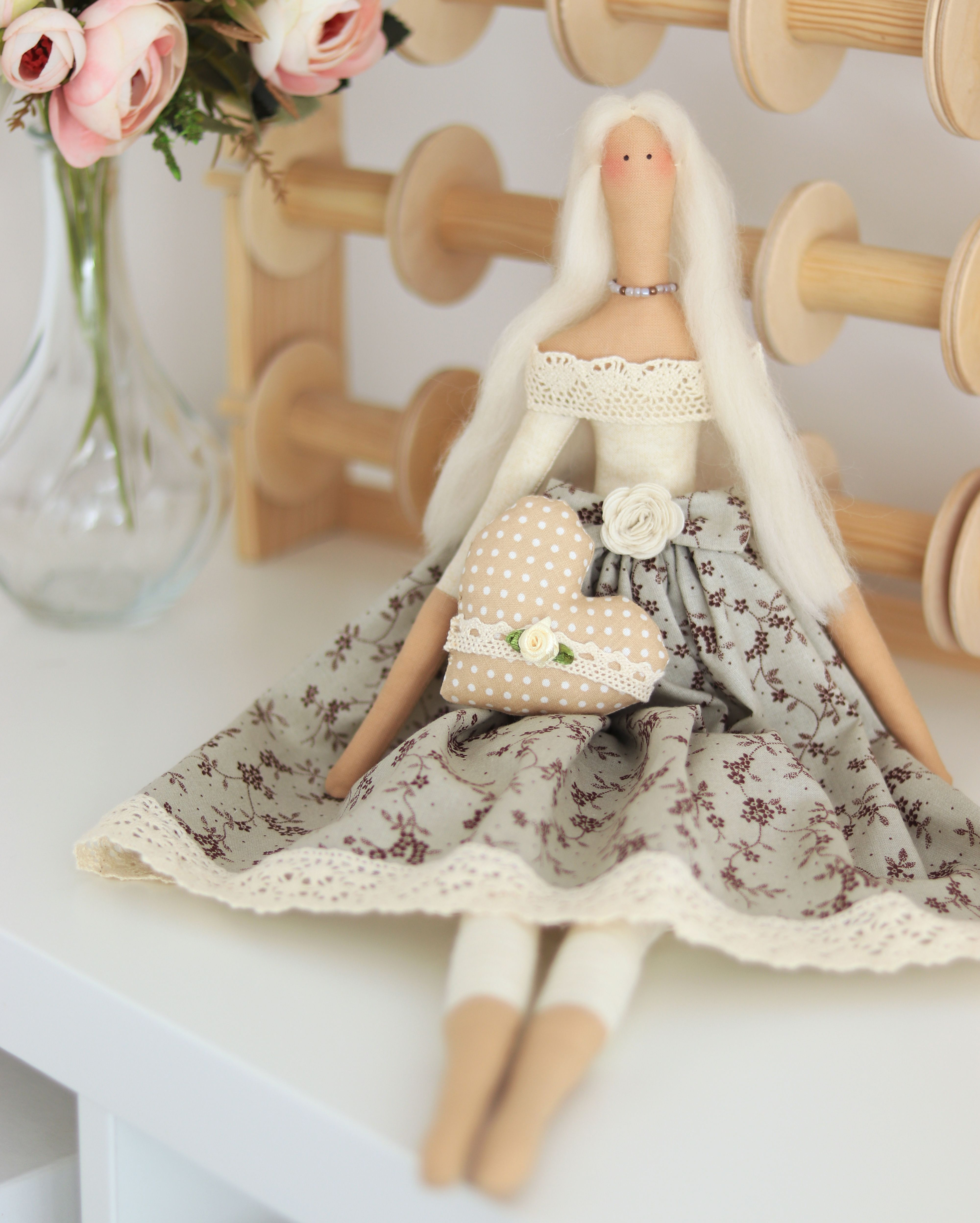 tilda doll Cloth dolls handmade soft yarn girlfriend christmas gift 30th birthday gift for her