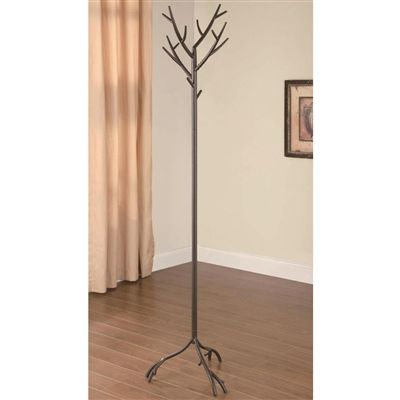 Artistic Accent Brown Wood Like Tree Branch Style Metal Coat Hat Rack