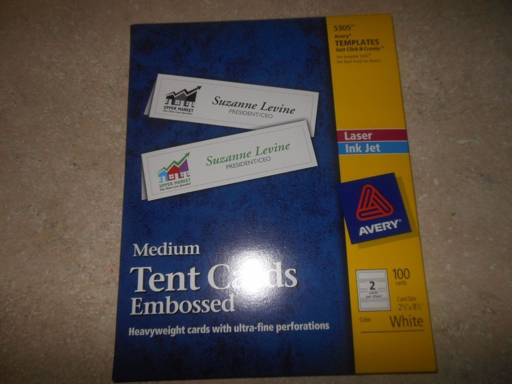 Avery 5305 Laser Inkjet Medium Tent Cards Perfed 2 1 2 X8 1 2 100 Bx White Tent Cards Avery Cards
