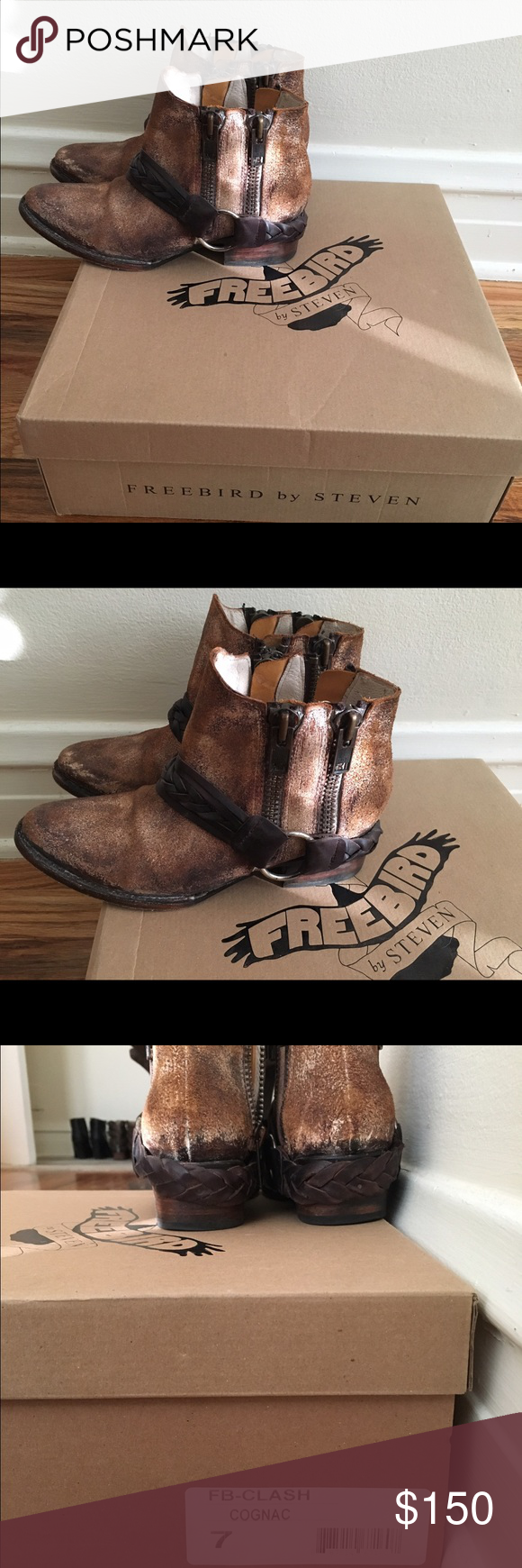 Freebird by Steve - size 7 boots in cognac Western inspired short boots with a distressed look.  I only wore a couple times. freebird by steven Shoes Ankle Boots & Booties