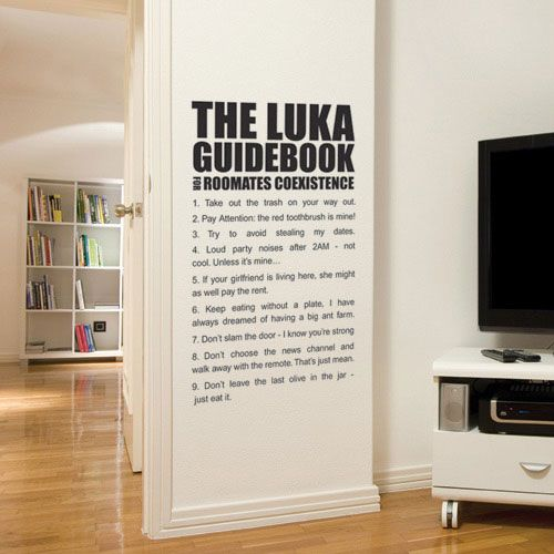wall-sticker-roommates-rules-390 | Wall Painting Ideas | Pinterest ...