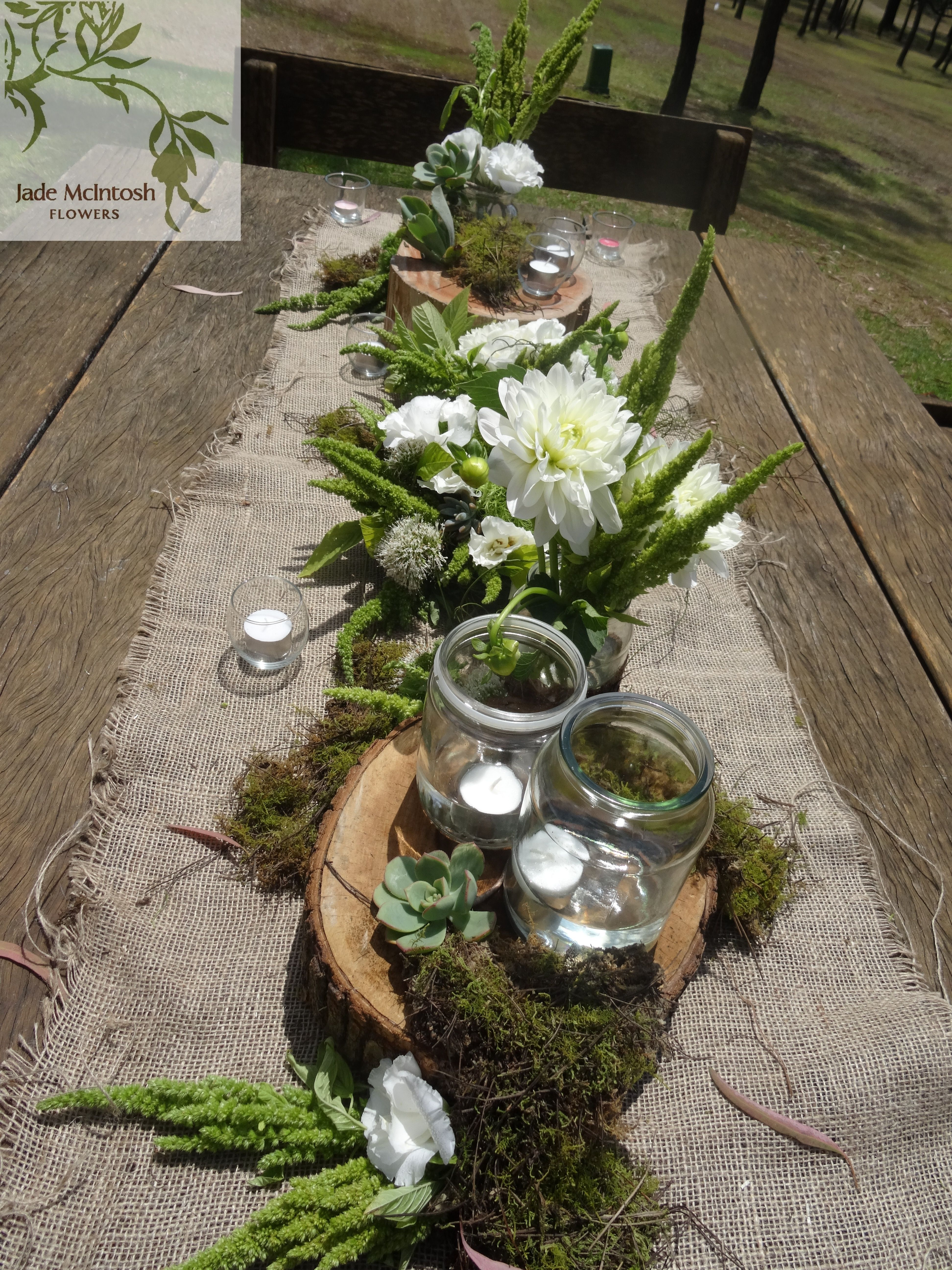 Rustic Outdoor Reception Using Hessian Table Runners Mason Jar