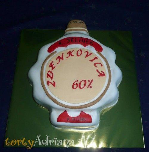 Torty pre dospelých » Torta Torta fľaša, narodeninová torta fľaša slivovice jelínek pre muža