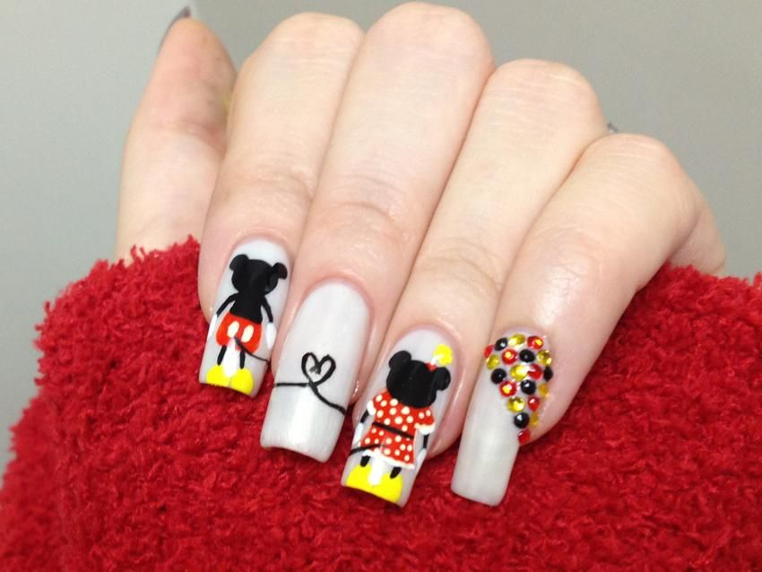 Minnie and Mickey Mouse Inspired Nail Art