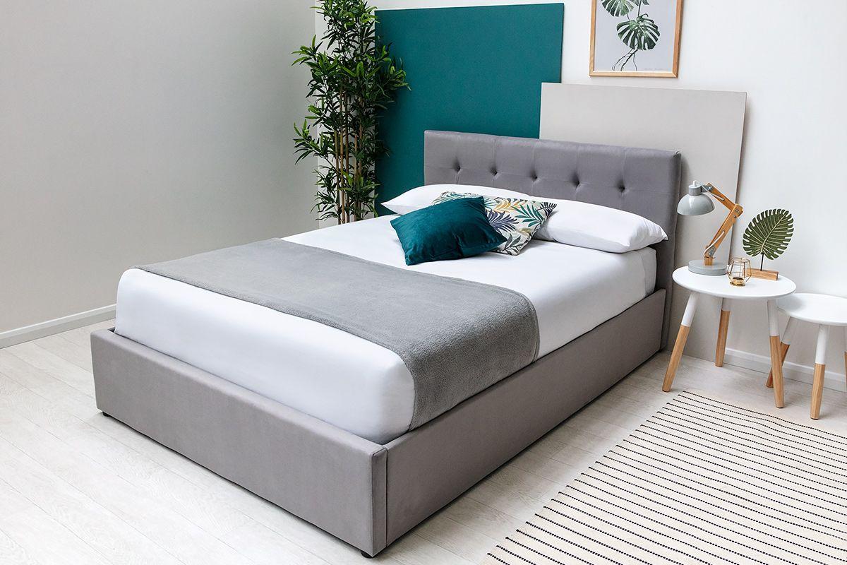 Grey Velvet Upholstered Lift Up Ottoman Storage King Size