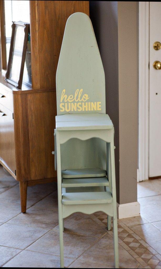 vintage wood ironing board/chair/stool - Vintage Wood Ironing Board/chair/stool Thrifting Thursdays