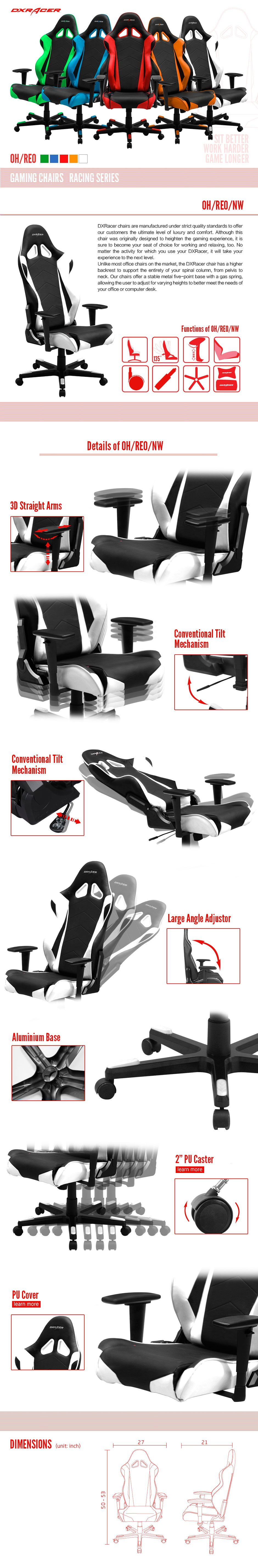 Racing Series Conventional PU Leather Gaming Chair RE0/NW