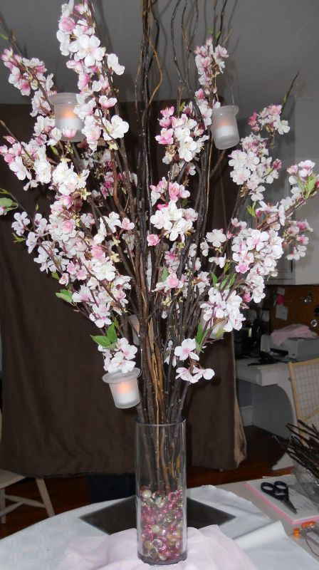 19 Awesome Ideas How To Enter Freshness In Your Home With Cherry Blossom Table Centerpie Cherry Blossom Centerpiece Cherry Blossom Wedding Cherry Blossom Theme