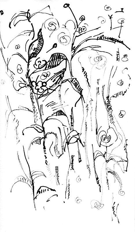Mauricio Piza, Plants, bamboo pen and ink, 2011