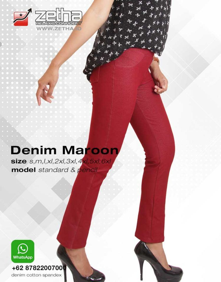 Celana Zetha Warna Denim Maroon Zetha Official Website Celana Celana Panjang Cocok